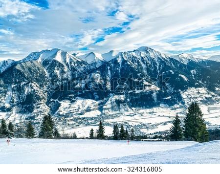 Alps panorama. View to Bad-Gastein, Austria. - stock photo