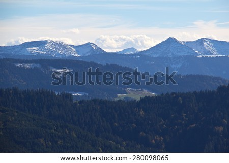 Alps / The view of the snow-capped Alps in the morning - stock photo