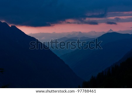 Alps view from Grossglockner High Alpine Road in Austria