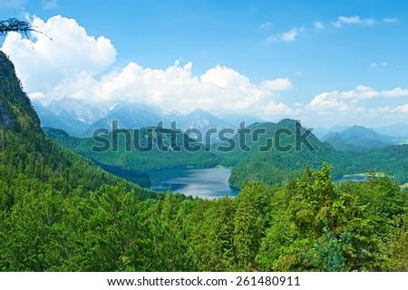 Alpsee lake at Hohenschwangau near Munich in Bavaria, Germany - stock photo