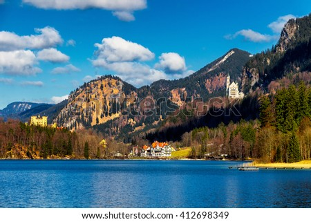 Alpsee lake landscape with Alps mountains near Munich in Bavaria, Germany