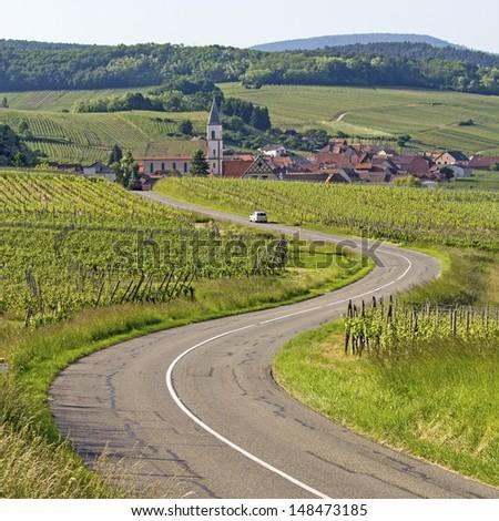 Alsace village, vineyard at route de wine. France. - stock photo