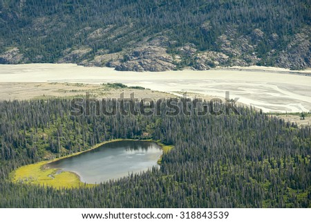 Alsek River and Small Lake in Kluane National Park, Yukon
