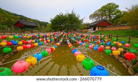 also called lotus lanterns - stock photo