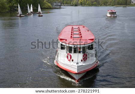 Alster boat in Hamburg, Germany - stock photo
