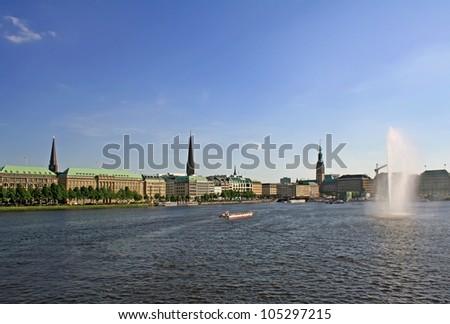 Alster lake in Hamburg - stock photo