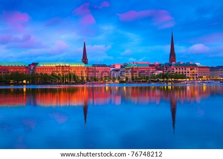 Alster Lake in Hamburg, Germany - stock photo