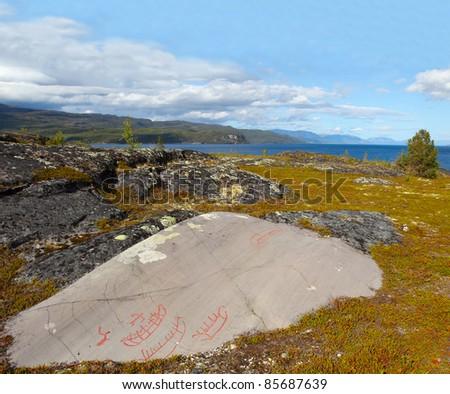 Alta rock carvings - landscape, Norway, UNESCO - stock photo