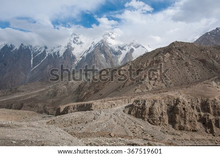 Altai mountain range with snow at China side