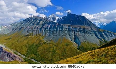 altai mountain ridge - stock photo