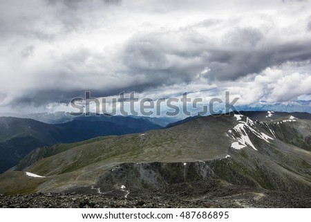 Altai, Russia,mountains ,the view from the pass Kara-Turek