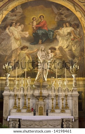 altar from st. Germain Auxerrois gothic church in Paris - stock photo