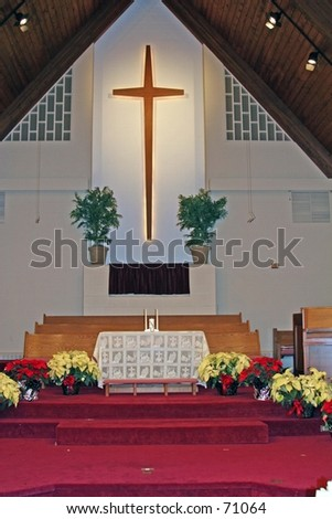 Altar in a church prior to start of a wedding