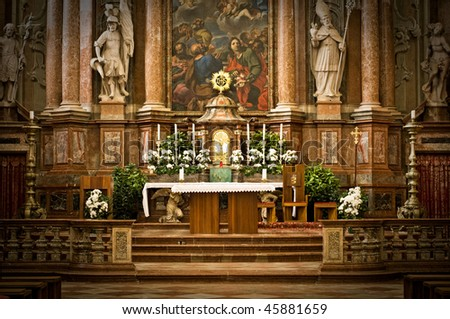 Altar in an Abbey in Austria - stock photo