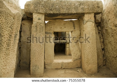 Altar in Mnajdra neolithic temples. Malta (Maltese islands). Built in 3600-2500 B.C. - stock photo