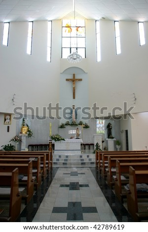 Altar in modern church - stock photo