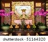 altar in Peranaken temple in Singapore - stock photo