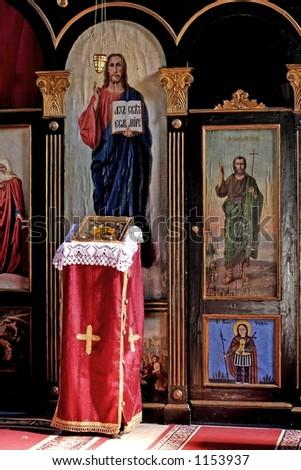 altar in Serbian orthodox monastery - stock photo