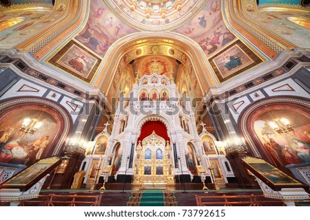 Altar inside Cathedral of Christ the Saviour in Moscow, Russia - stock photo