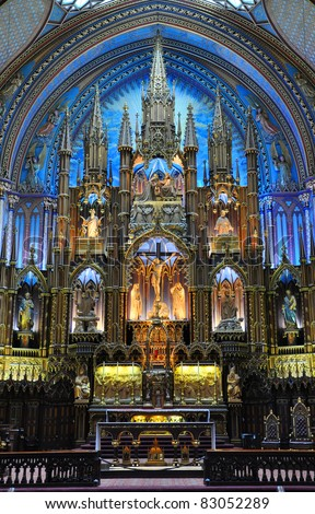 Altar of Montreal Notre-Dame Basilica (French: Basilique Notre-Dame de Montreal) - stock photo
