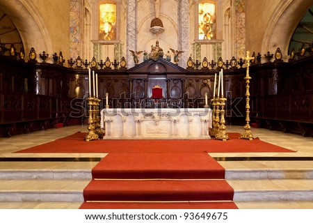 Altar of the Cathedral of Havana, a religious landmark and touristic destination in Cuba - stock photo
