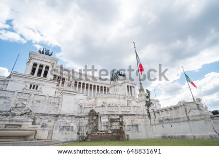 Altar of the Fatherland or Altare della Patria, known as National Monument to Victor Emmanuel II in Rome, Italy.
