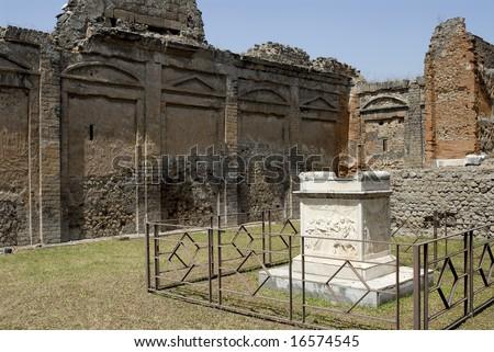 Altar, Temple of Vaspian, Pompeii Italy,in small courtyard - stock photo