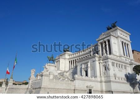 Altare della Patria (meaning Altar of the Fatherland) aka Vittoriano or Monumento Nazionale a Vittorio Emanuele II (National Monument to Victor Emmanuel II in Rome, Italy - stock photo
