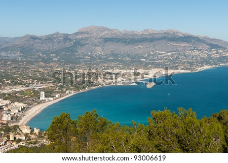 Altea bay, Costa Blanca, Spain, as seen from the pine forested Sierra Helada - stock photo