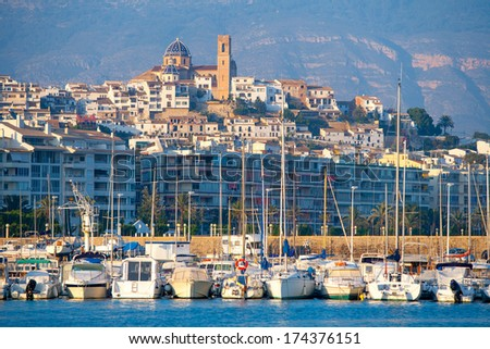 Altea village in alicante with marina boats foreground at Spain Valencian Community - stock photo