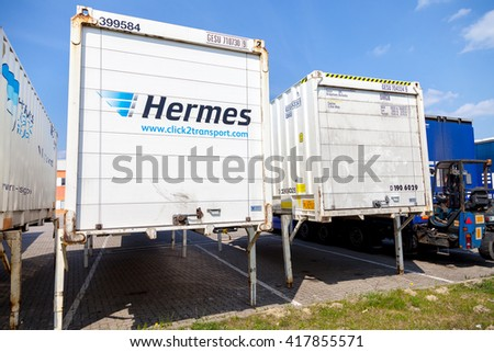 ALTENTREPTOW / GERMANY - MAY 5: swapbodys from parcel service hermes, stands on logistic depot in altentreptow / germany on may 5, 2016.