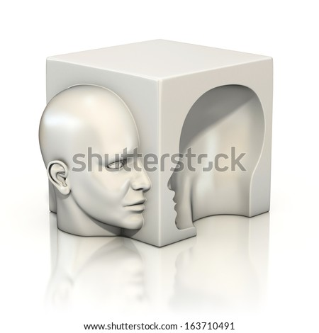 alter ego, psychology, abstract human head 3d concept - stock photo