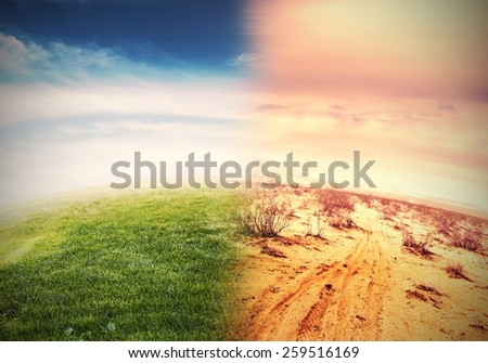 Alteration of natural environment and global warming - stock photo