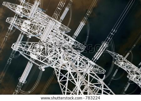 altered image of power pylon 2 - stock photo