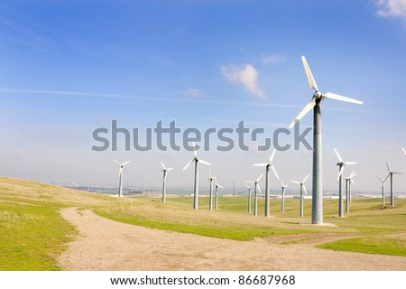 Alternate energy power source wind generator farm in California - stock photo