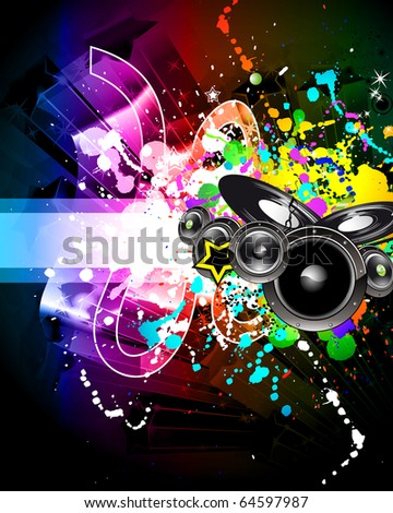 Alternative Discotheque Music Flyer with Attractive Rainbow Colours