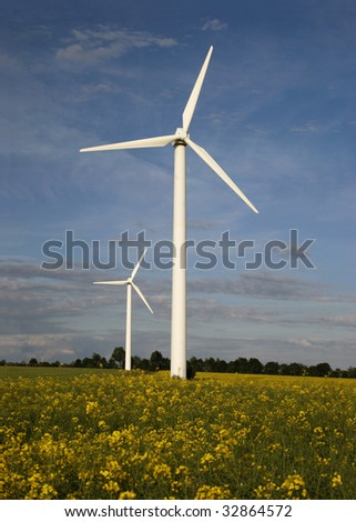 Alternative energies - Windmills and a rapeseed field
