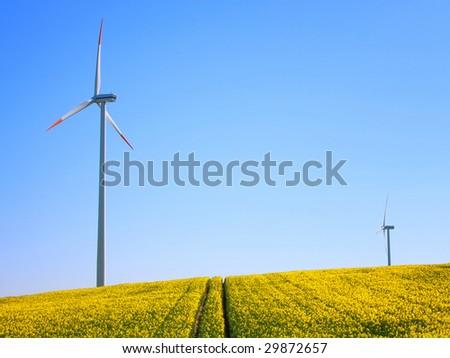 Alternative energy by wind turbines in rapeseed field - stock photo