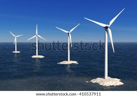 Alternative Energy Concept. Windmills in the Ocean extreme closeup. 3d Rendering