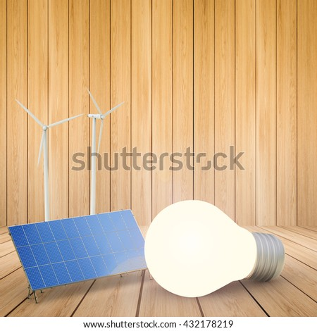 alternative energy concept with 3d rendering wind turbines, solar panels and idea light bulb - stock photo