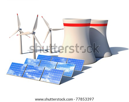 alternative energy 3d concept - Wind power station nuclear power plant and solar panels against white background 3d render - stock photo