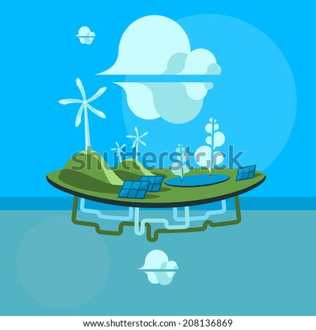Alternative energy. Flat design vector illustration. - stock photo
