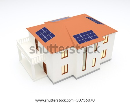 Alternative energy house with solar power panel on roof - stock photo