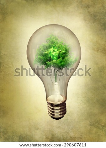 alternative energy over green grunge background. Alternative energy concept - stock photo