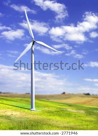 Alternative energy source. Wind turbine in a rural landscape. Digital illustration. - stock photo