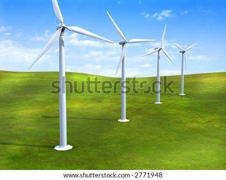 Alternative energy sources. Wind turbines in a grass field. Digital illustration. - stock photo