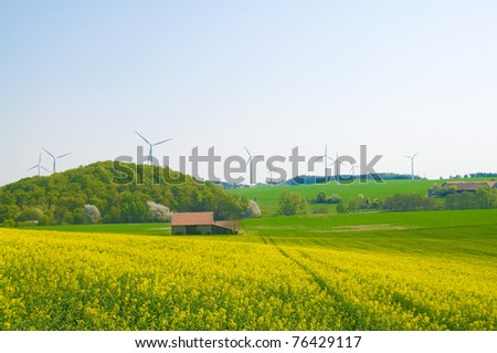 Alternative energy sources - windmills, and canola oil. - stock photo