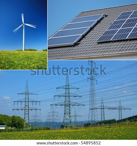Alternative energy theme collage - stock photo