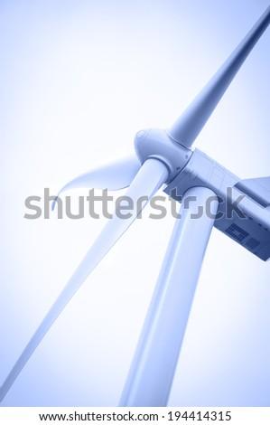Alternative energy wind turbines. Toned. - stock photo