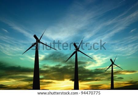 Alternative energy - windturbines - stock photo
